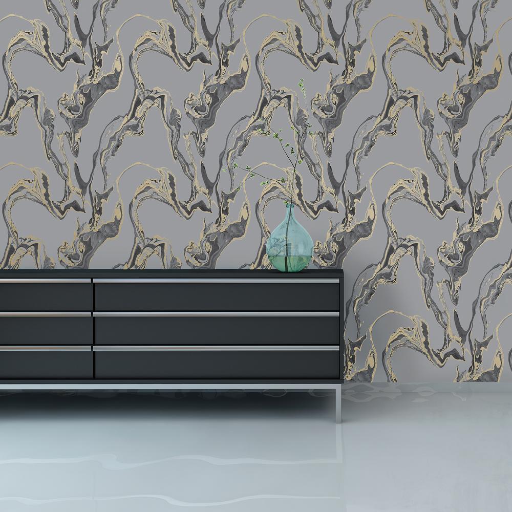 Tempaper Wallpaper: Tempaper Storm Marble Wallpaper-MB078