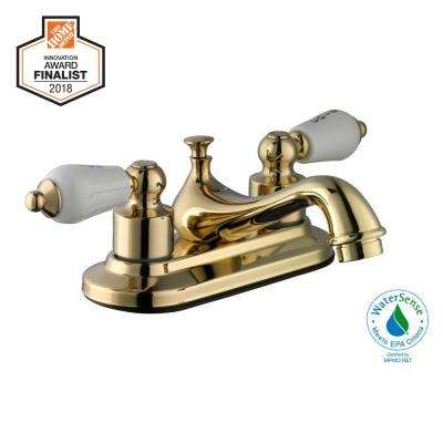 Teapot 4 in. Centerset 2-Handle Low-Arc Bathroom Faucet in Polished Brass