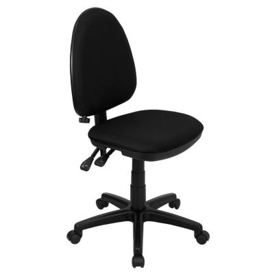 Mid-Back Black Fabric Multi-Functional Swivel Task Chair with Adjustable Lumbar Support