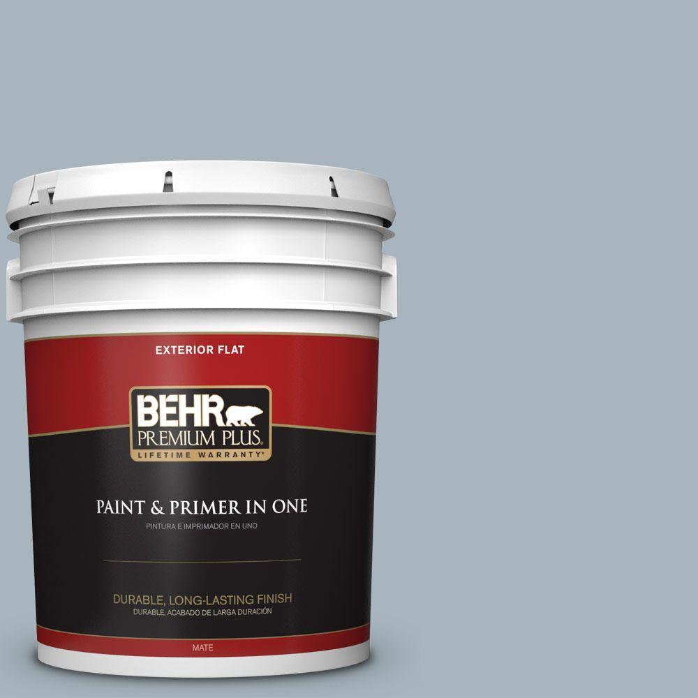BEHR Premium Plus 5-gal. #N480-3 Shadow Blue Flat Exterior Paint