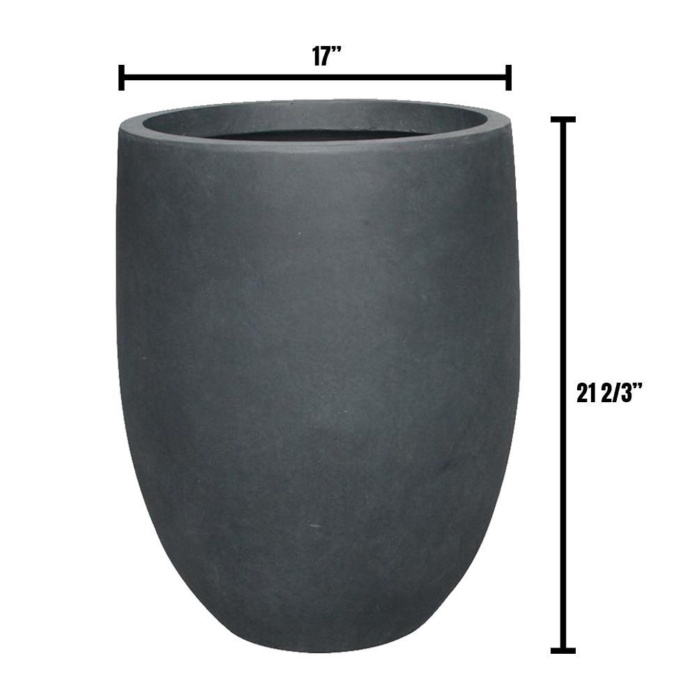 DurX-litecrete 17 in. Dia Lightweight Concrete Modern Seamless Round Charcoal Planter