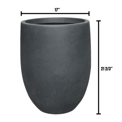 17 in. Dia Lightweight Concrete Modern Seamless Round Charcoal Planter
