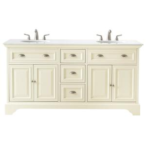 Home Decorators Collection Sadie 67 inch Double Vanity in Matte Pearl with Marble Vanity Top in Natural White with White... by Home Decorators Collection