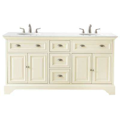 Sadie 67 in. Double Vanity in Matte Pearl with Marble Vanity Top in Natural White with White Basin