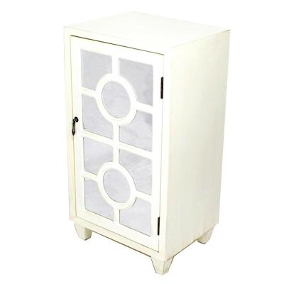 Shelly Assembled 16.75 in. x 16.75 in. x 12.6 in. Antique White Wood Glass Accent Storage Cabinet with a Door