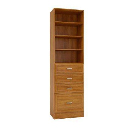 15 in. D x 24 in. W x 84 in. H Rialto Cognac Melamine with 4-Shelves and 4-Drawers Closet System Kit