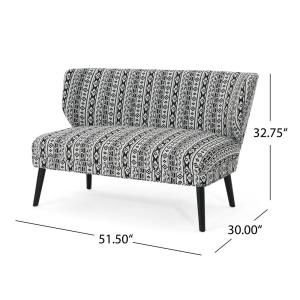 Awesome Noble House Desdemona Boho Black Aztec Fabric Settee 42756 Pabps2019 Chair Design Images Pabps2019Com