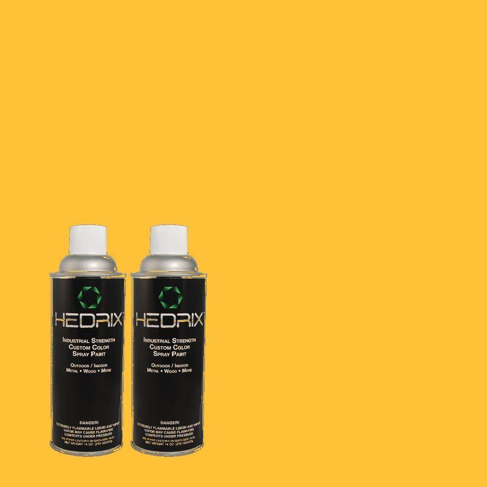 Hedrix 11 oz. Match of 1B11-6 Arnica Flat Custom Spray Paint (2-Pack)
