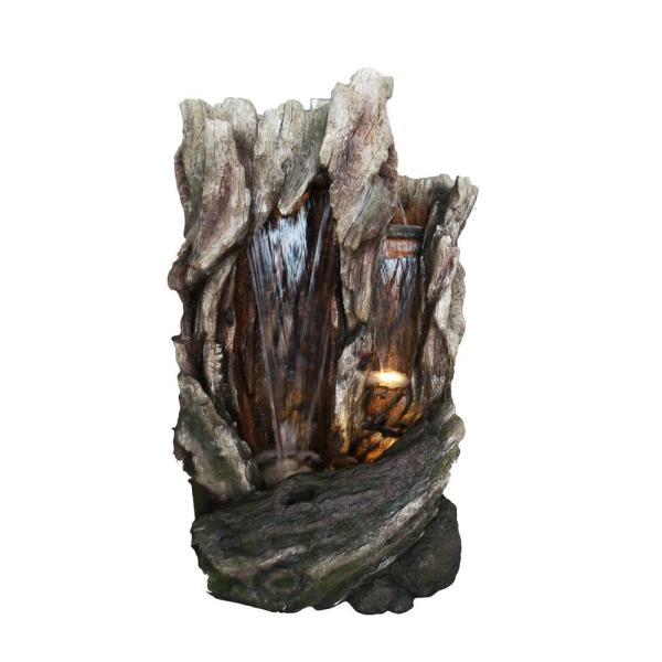 62 in. Tall Outdoor Tree Trunk Water Fountain with LED Lights