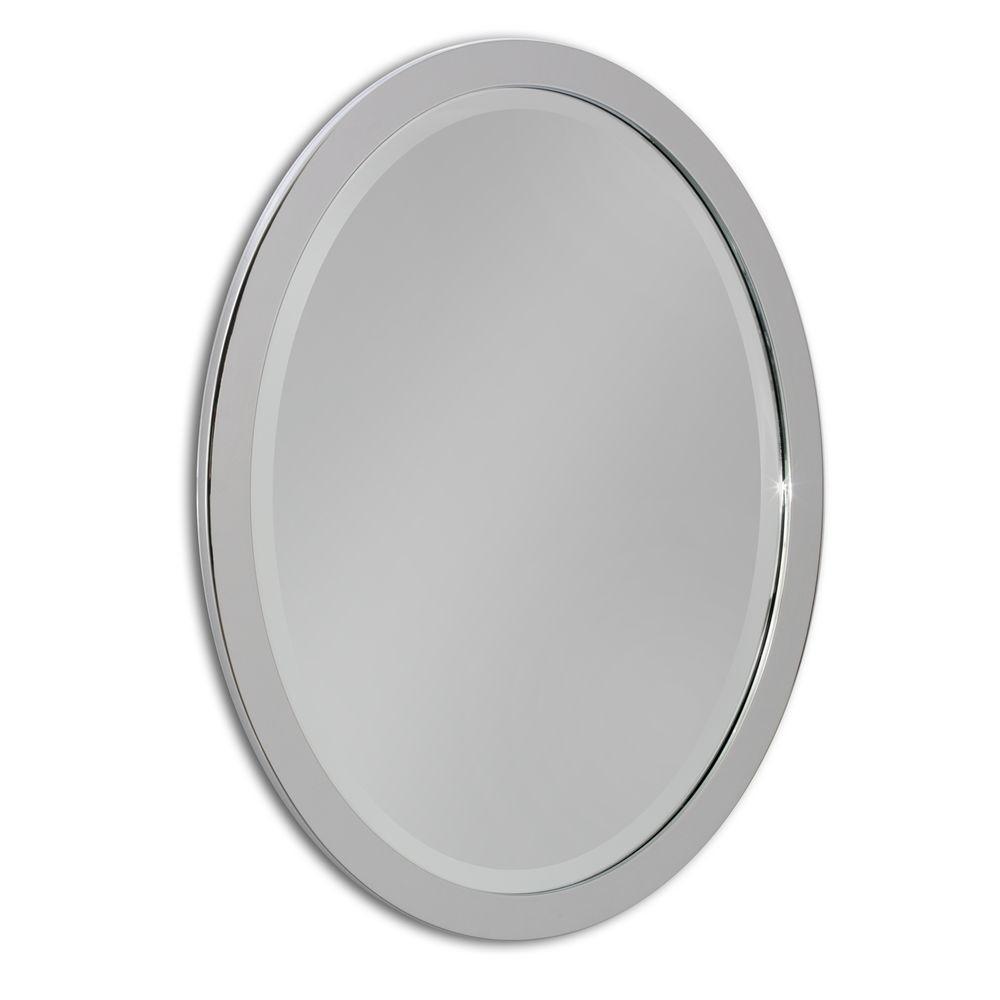 Deco Mirror 23 in. W x 29 in. H Single Metal Framed Oval Mirror in ...