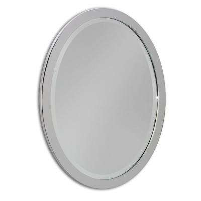 23 in. W x 29 in. H Single Metal Framed Oval Mirror in Chrome