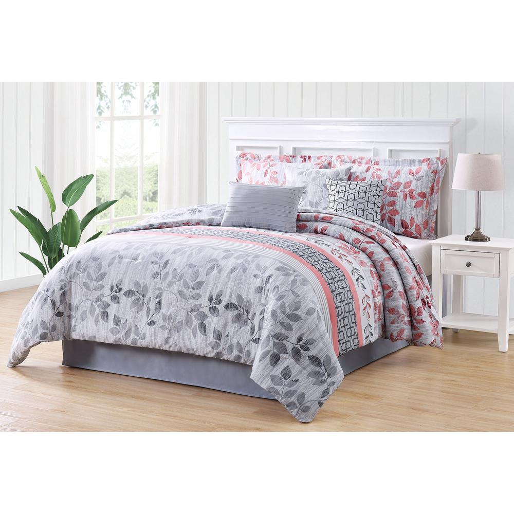 Breezy Coral Gray Queen 7-Piece Reversible Comforter Set ...