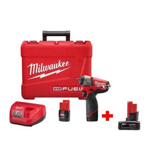 Milwaukee M12 FUEL 12-Volt Lithium-Ion Brushless Cordless 1/4 inch Impact Wrench Kit with M12 12-Volt XC 4Ah Battery by Milwaukee