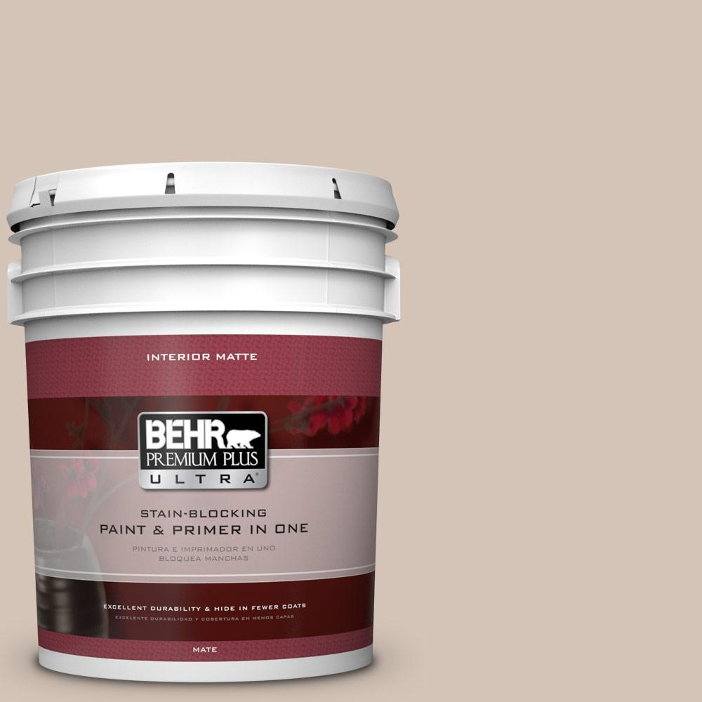5 gal. #BIC-02 Hazy Taupe Matte Interior Paint and Primer in