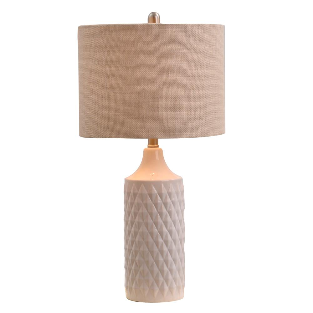 White Ceramic Table Lamp With Linen Shade