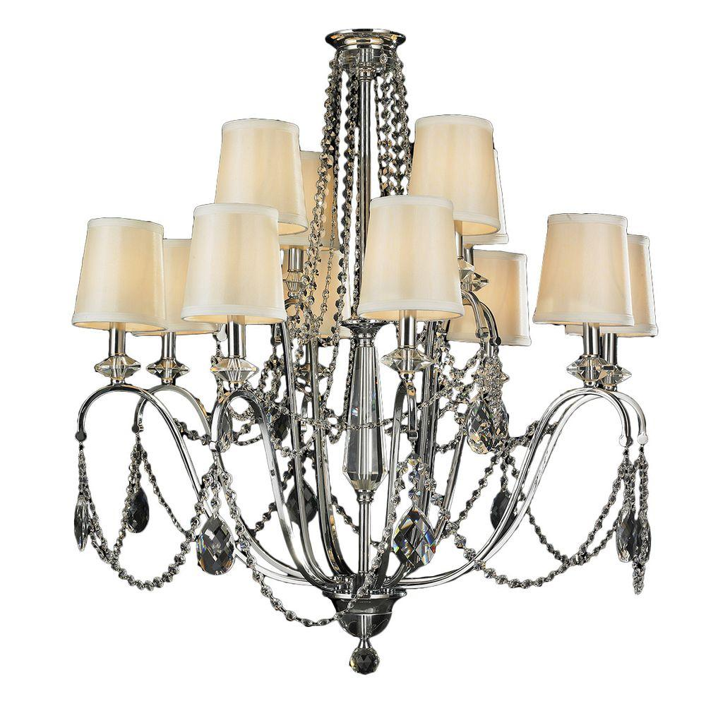 Worldwide Lighting Innsbruck 12-Light Polished Chrome and Clear Crystal Chandelier with Fabric Shade