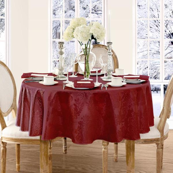 Elrene 90 in. Round Burgundy Elrene Barcelona Damask Fabric Tablecloth