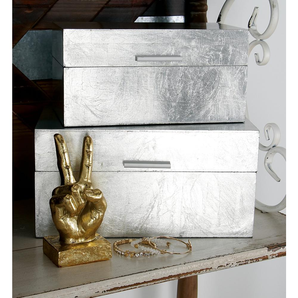Rustic Silver Rectangular Wooden Boxes with Lids (Set of 2)-56666 ...
