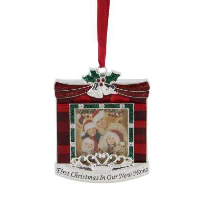 3.25 in. Red and Green First Christmas in Our New Home in. Fireplace Silver Plated Photo Frame Ornament