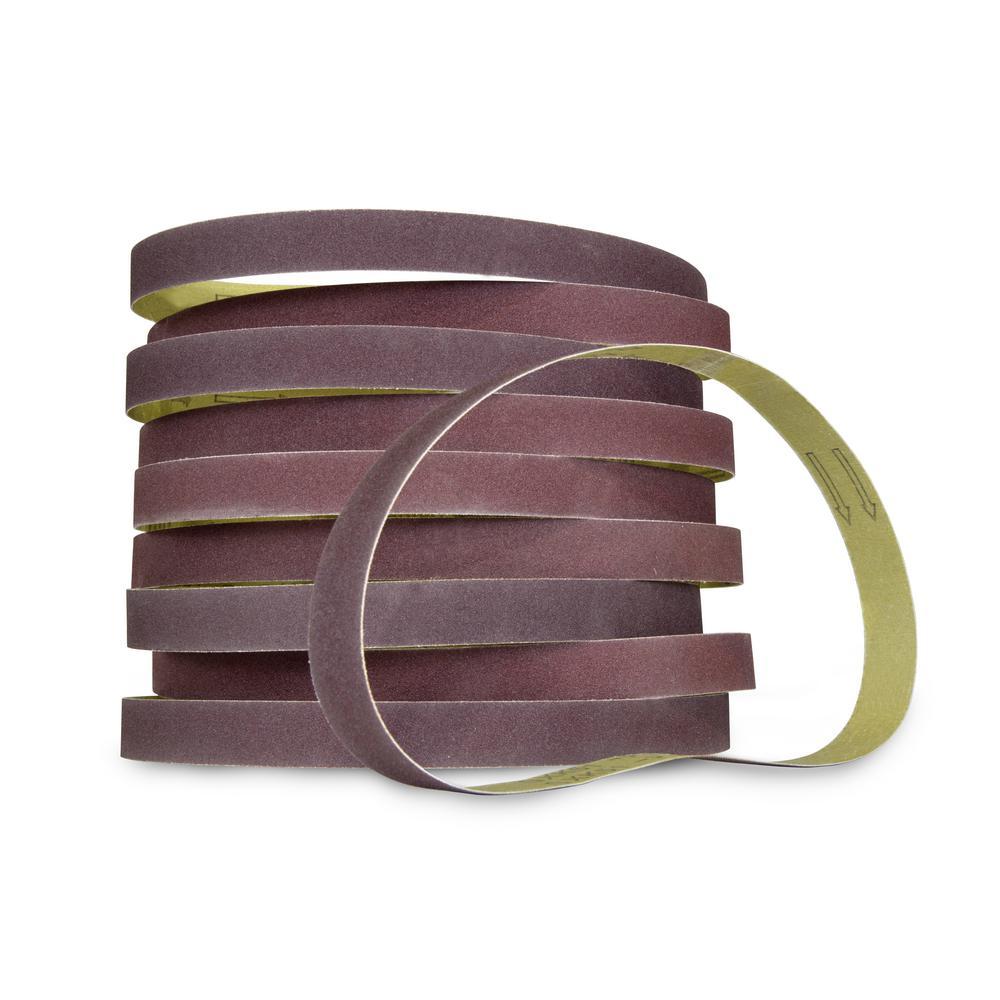 180-Grit 1 x 30 in. Sanding Belt Sandpaper (10-Pack)