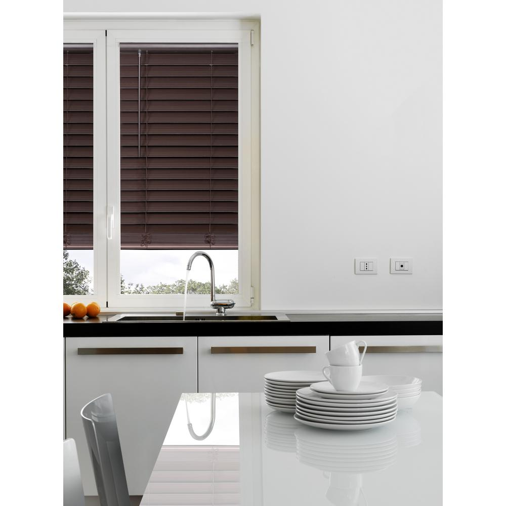 Home decorators collection espresso cordless 2 1 2 in premium faux wood blind 32 in w x 48 - Home decorators collection blinds installation image ...