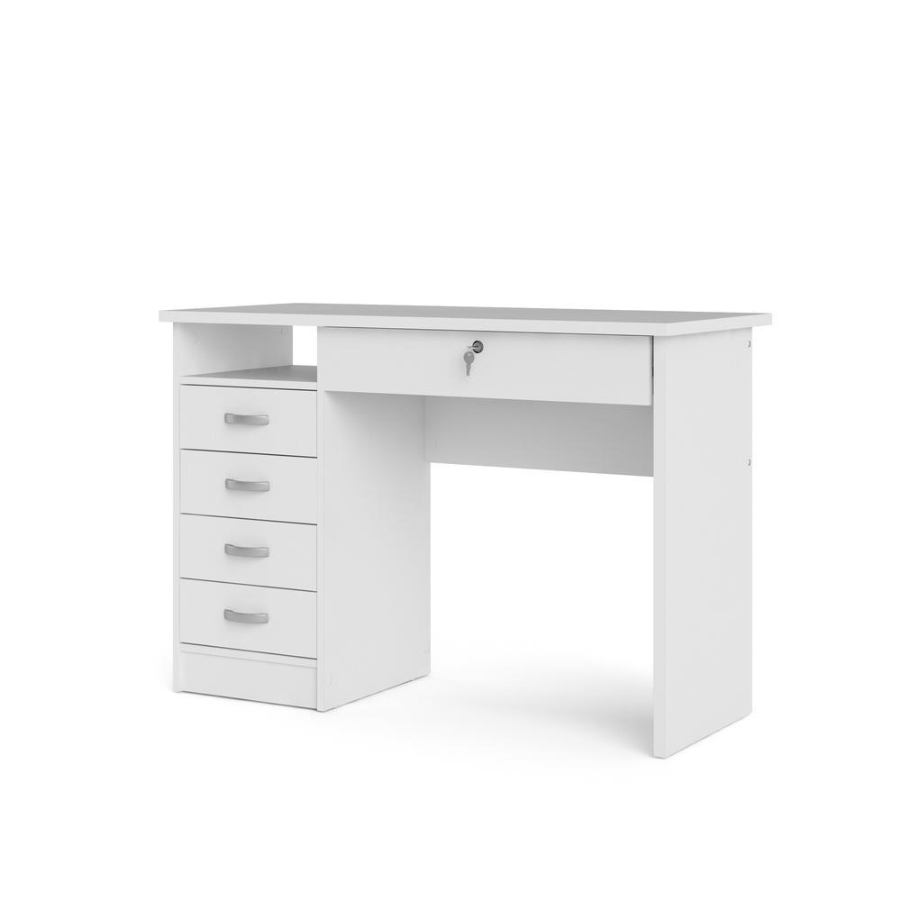 Tvilum 43 03 In White Rectangular 5 Drawer Writing Desk With