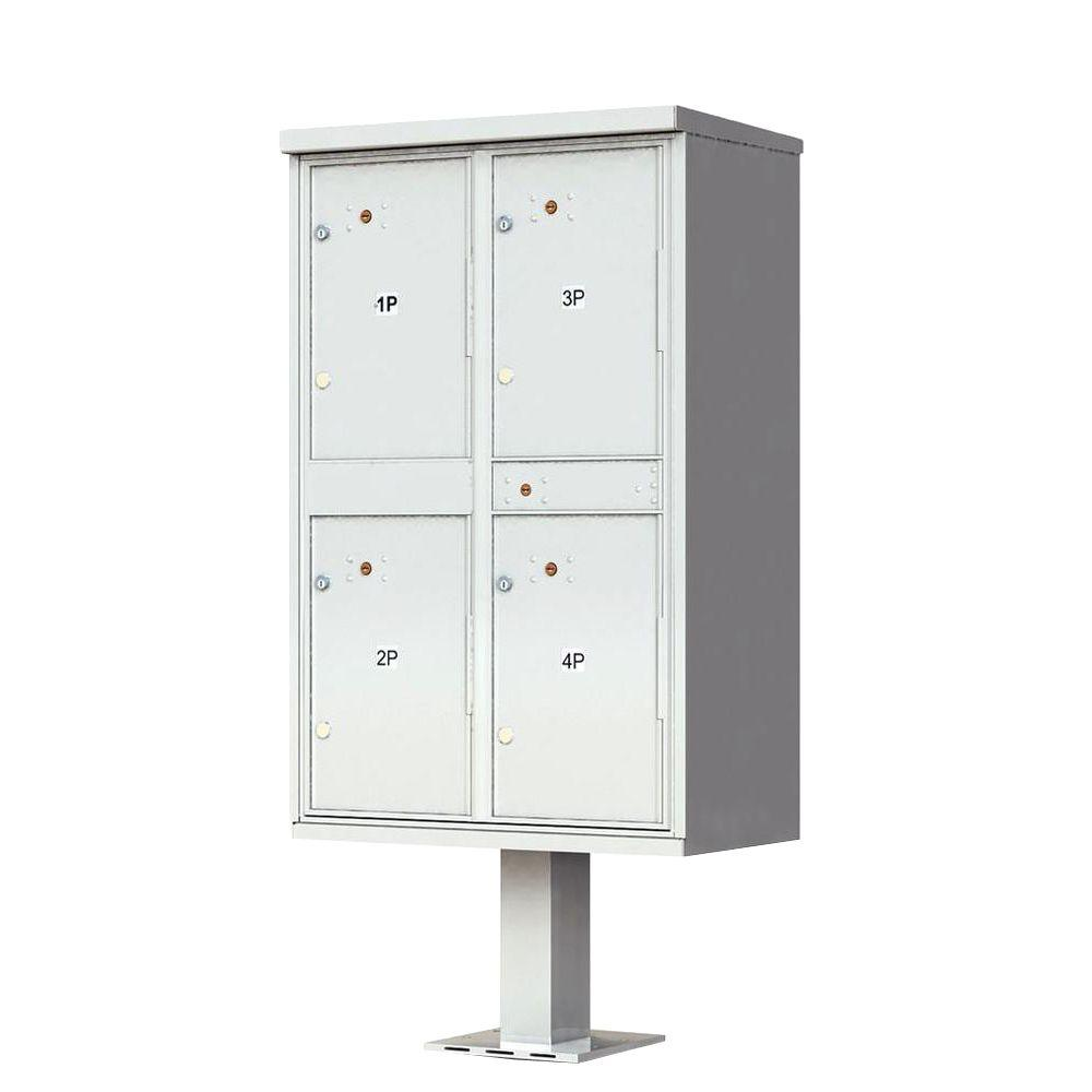 1590 Valiant Postal Gray 4-Compartment Parcel Lockers Pedestal Mount Mailbox
