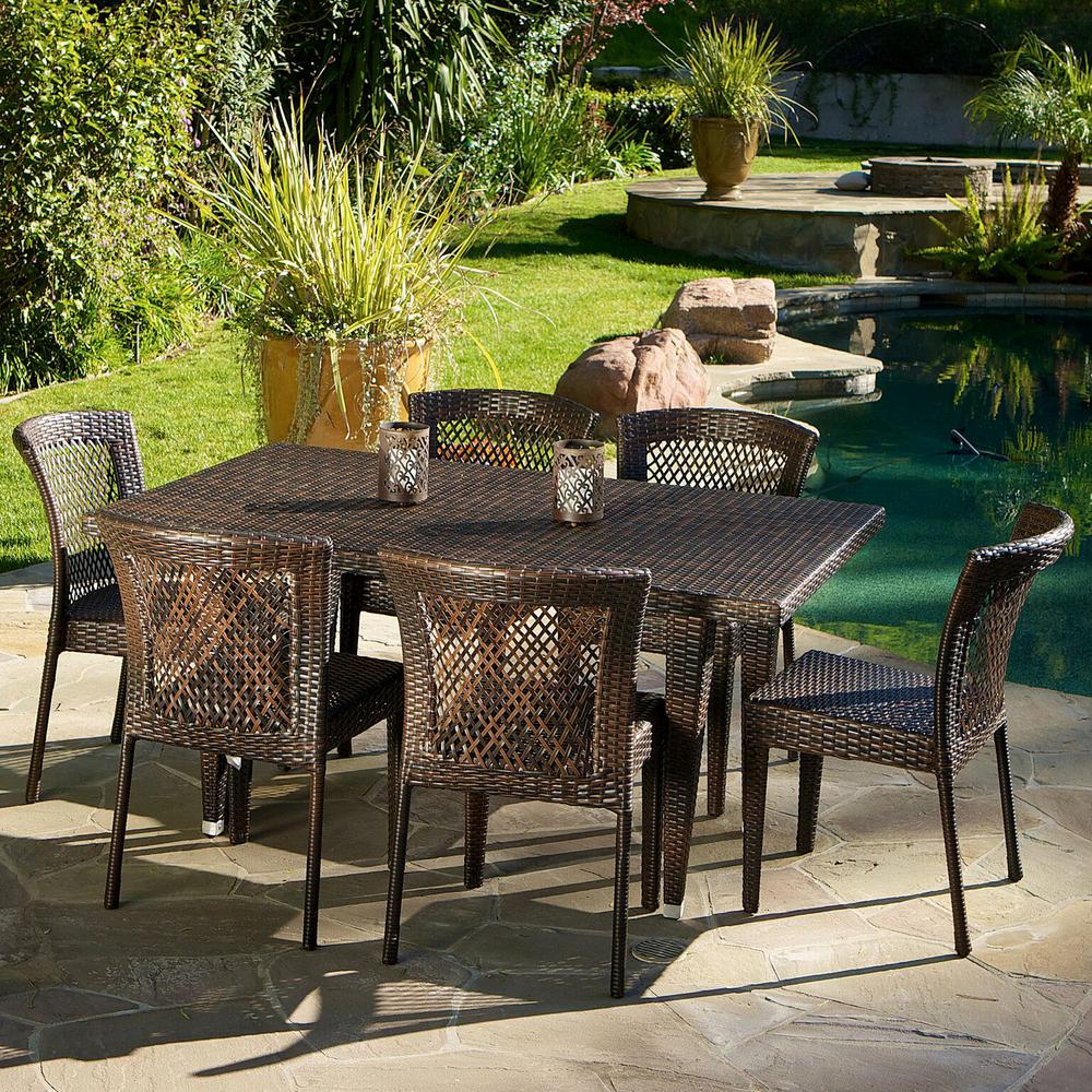 Noble House Dusk Multi-Brown 7-Piece Wicker Outdoor Dining ...