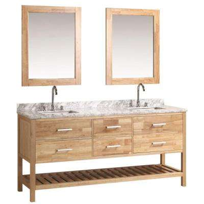 London 72 in. W x 22 in. D Double Vanity in Oak with Marble Vanity Top and Mirror in Carrara White