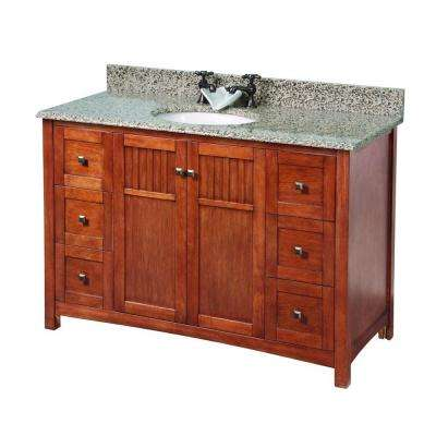 Knoxville 49 in. W x 22 in. D Vanity in Nutmeg with Granite Vanity Top in Montesol with White Sink