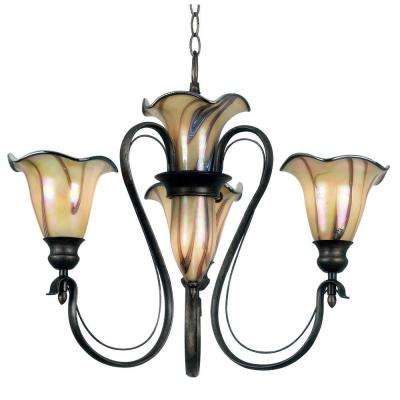 Inverness 5-Light Tuscan Silver Chandelier with Glass Shade