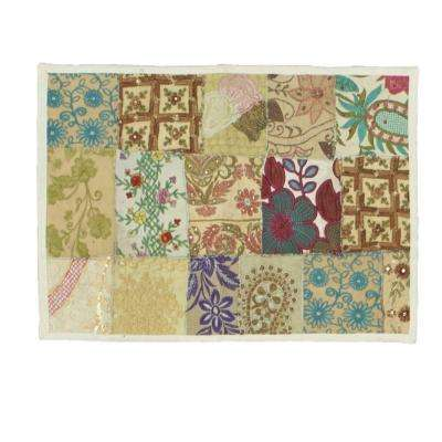 Timbuktu 13 in. W x 19 in. H Hand Crafted White Cotton and Poly Recycled Sari Placemat (Set of 4)