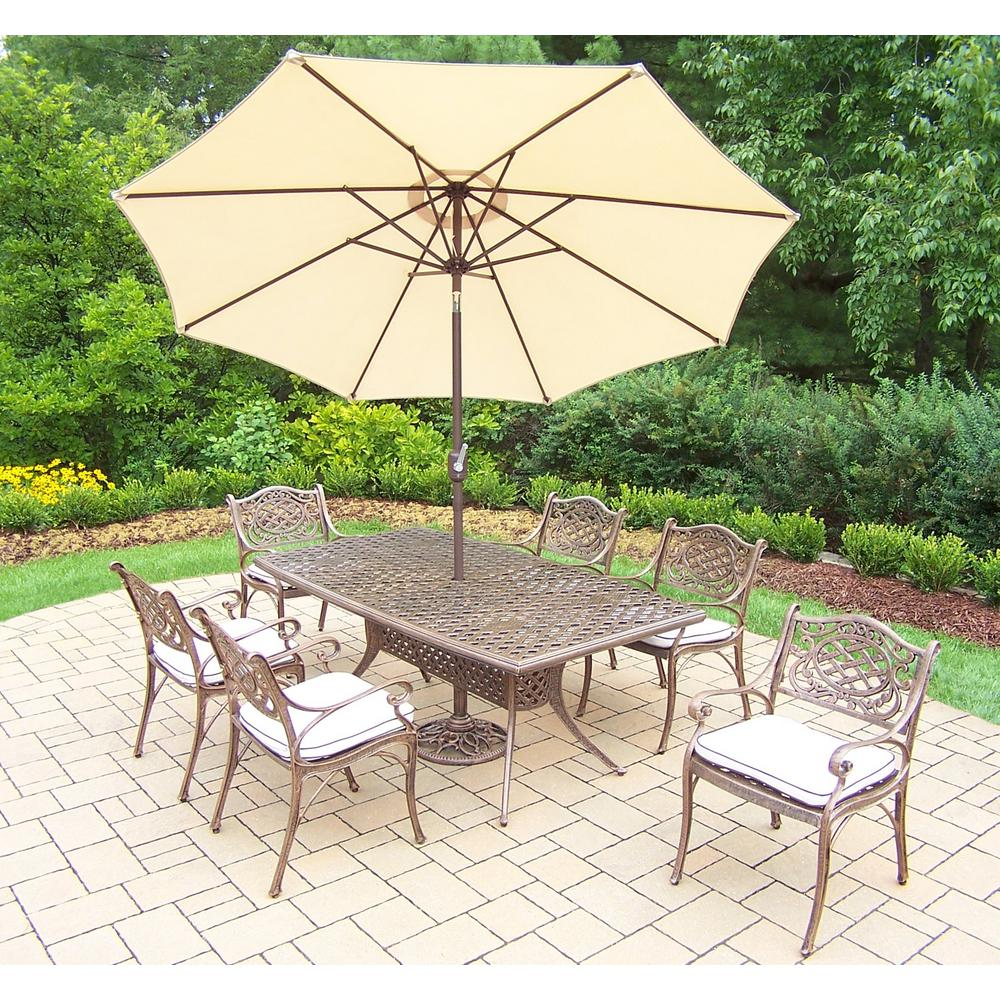 9-Piece Aluminum Outdoor Dining Set with Oatmeal Cushions and Beige Umbrella