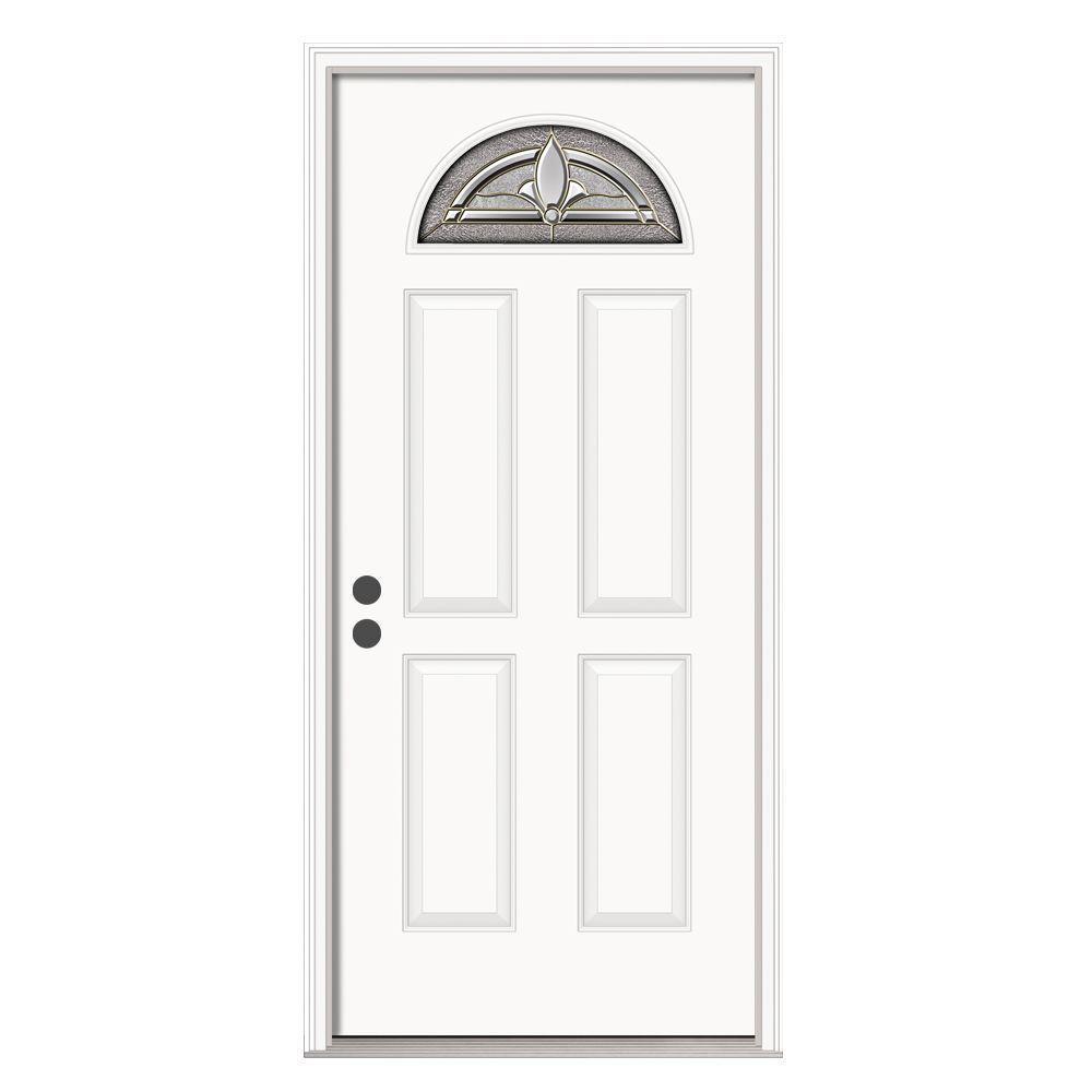 36 in. x 80 in. Fan Lite Blakely Primed Steel Prehung Right-Hand Inswing Front Door w/Brickmould