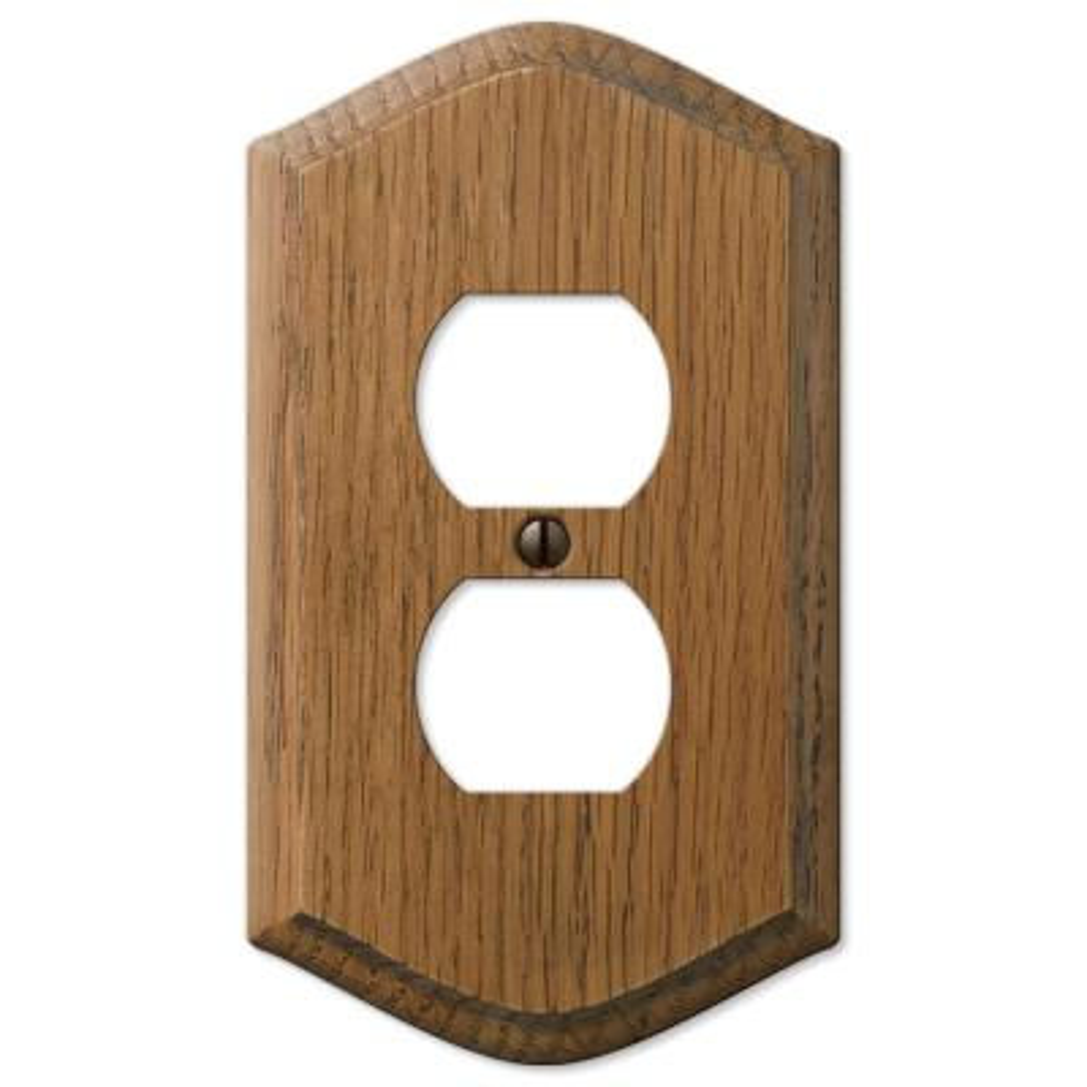 Country 1 Gang Duplex Wood Wall Plate - Medium Oak