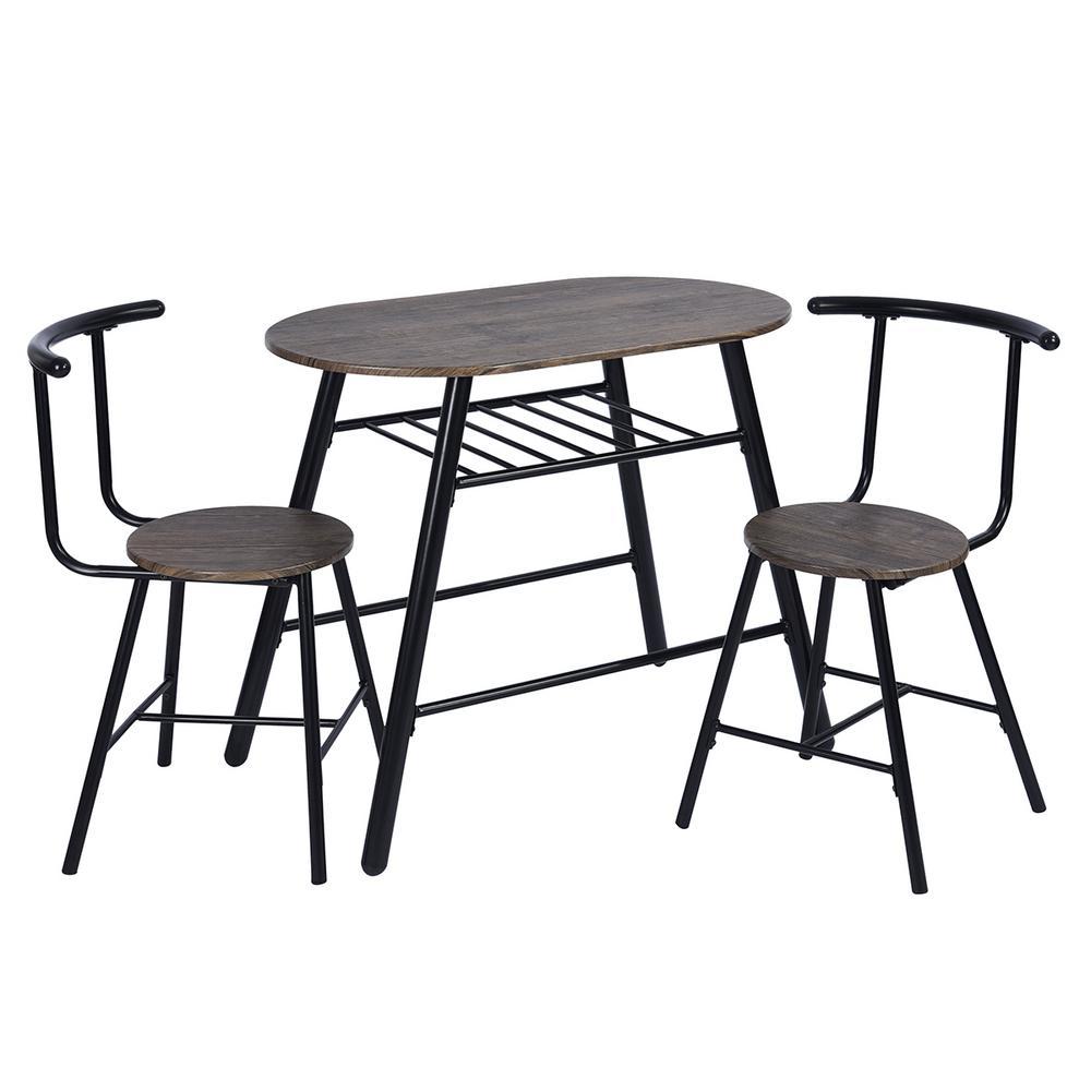 Peat 3-Piece Dark Brown Breakfast Bar Table Chair Set