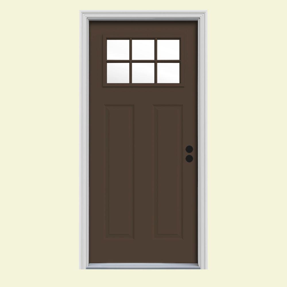 32 in. x 80 in. 6 Lite Craftsman Dark Chocolate Painted Steel Prehung Left-Hand Inswing Front Door w/Brickmould