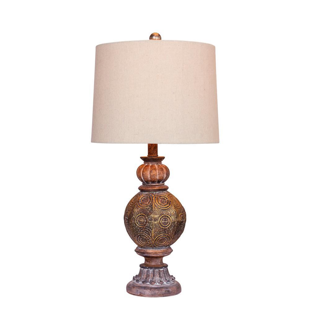 Fangio Lighting 27 In Brown Moroccan Circle Weave Pedestal Urn