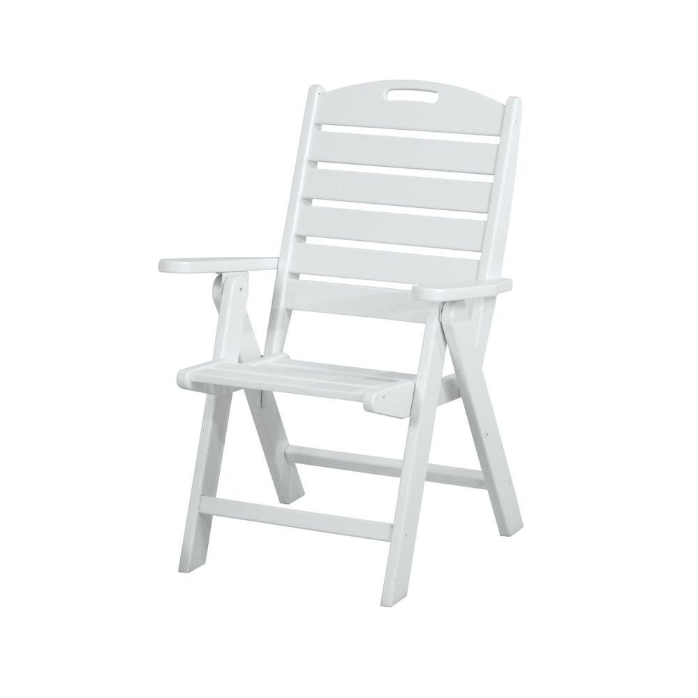 polywood nautical highback white plastic outdoor patio dining chair