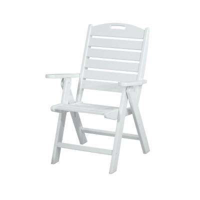 Nautical Highback White Plastic Outdoor Patio Dining Chair