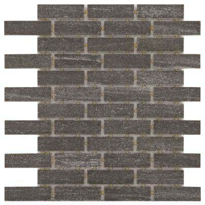 Urban Craft Graphite 12 in. x 12 in. x 6.35mm Ceramic Brick Joint Mosaic Floor and Wall Tile (0.88 sq. ft. / piece)