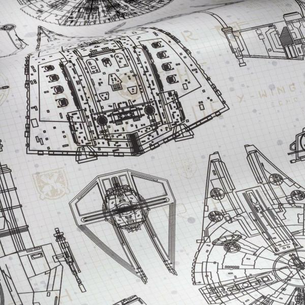 Roommates Star Wars Blueprint Vinyl Peelable Wallpaper Covers 28 18 Sq Ft Rmk11036wp The Home Depot