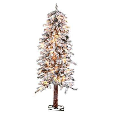 6 ft. Pre-Lit Flocked Alpine Artificial Christmas Tree with Clear Lights