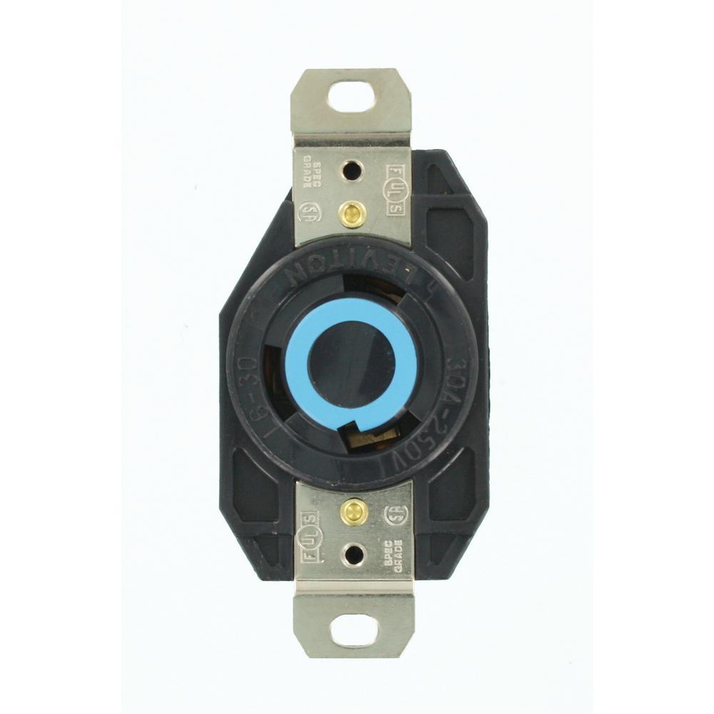 30 Amp 250-Volt Flush Mounting Grounding Locking Outlet, Black