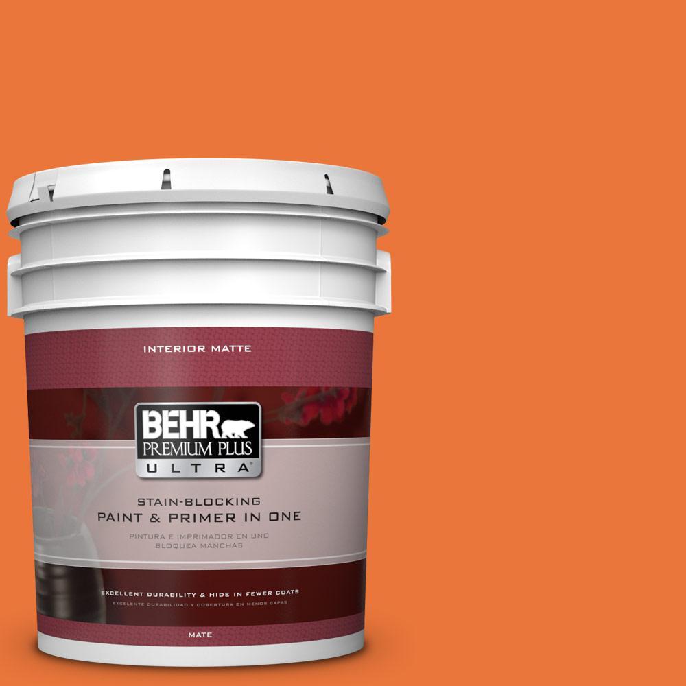 BEHR Premium Plus Ultra Home Decorators Collection 5 gal. #HDC-MD-27 Tart Orange Flat/Matte Interior Paint