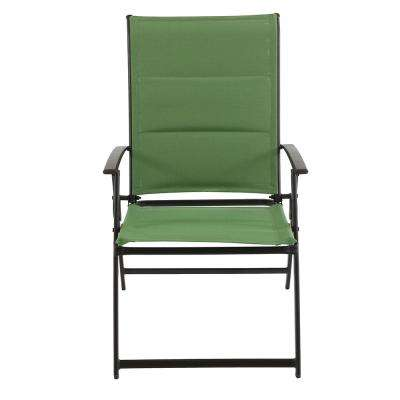 Mix and Match Folding Steel Outdoor Dining Chair in Fern Sling (2-Pack)