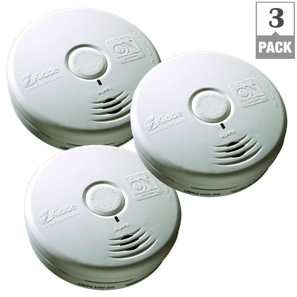 10-Year Worry Free Battery Operated Smoke Alarm (Bundle of 3)