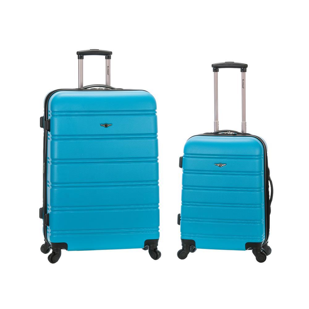 Rockland Melbourne Expandable 2-Piece Hardside Spinner Luggage Set, Turquoise
