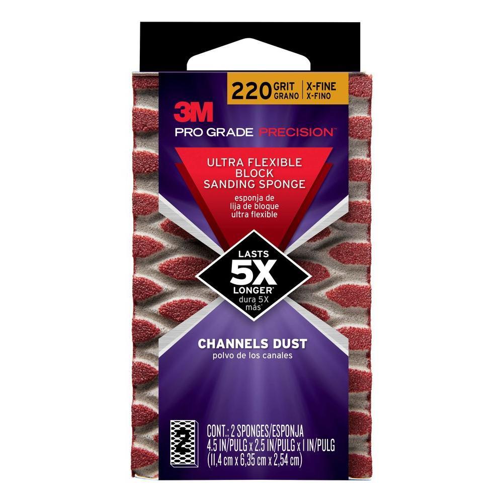 Pro Grade Precision 4.5 in. x 2.5 in. x 1 in. 220 Grit X-Fine Ultra Flexible Block Sanding Sponge (2-Pack)