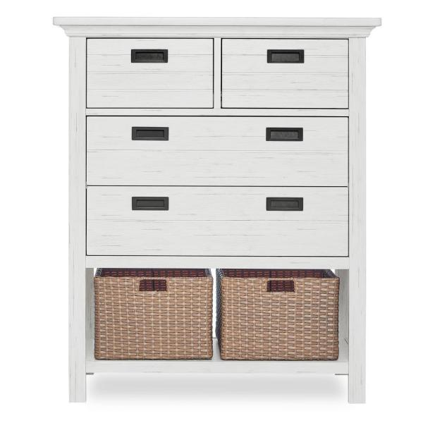 Evolur Waverly 4-Drawer Weathered White Chest with Baskets 893-WW